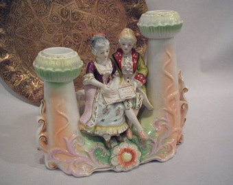 Vintage Double Candlestick with Colonial Couple - Red Letter Japan - Handpainted China - Home Decor - Romantic Candlelight - Gilded - 1940s