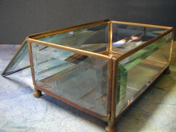 Vintage Etched Bamboo Mirrored Jewelry Box Thick Beveled Glass Hinged Top Footed Base