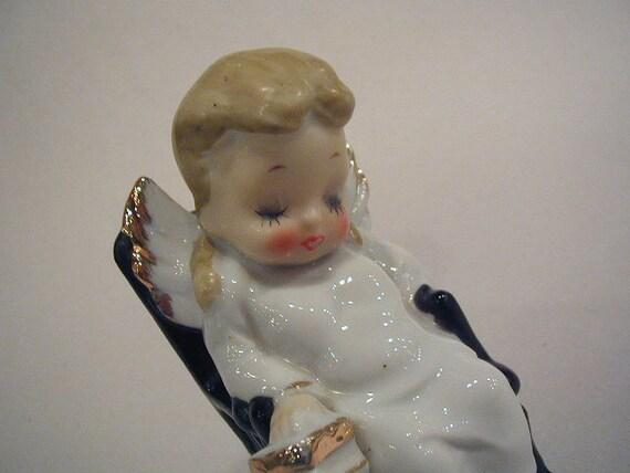 Vintage Sleeping Angel Figurine in Rocking Chair Handpainted Gold Embellished