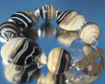 Handmade Lampwork Bracelet - Deep Purple