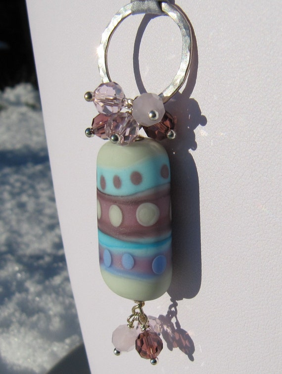 Handmade lampwork and silk necklace
