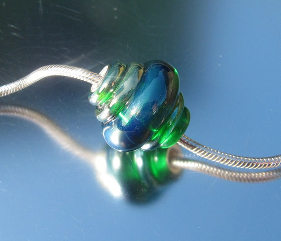 Handmade Lampwork and Silver, Charm Bead - fits European charm bead systems
