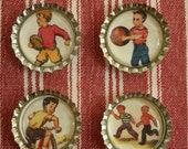 Boys At Play magnets.  Set of 4 bottle cap magnets.
