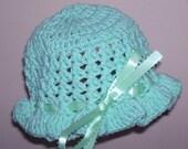 Crocheted Mint Green Baby Bucket Hat------------CLEARANCE SALE