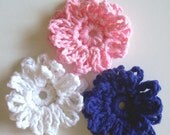 Crocheted Double Looped Daisy Set of 3 in Purple, Baby Pink, and White-------SALE