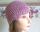 Crocheted Ladies Mauve Cotton Flapper Hat--------SALE