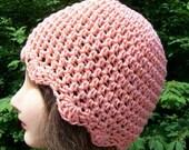 Crocheted Ladies Cotton Flapper Hat in Tea Rose---------SALE