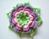 Crocheted Trivet: Crocheted Irish Rose Trivet or Large Applique----SALE