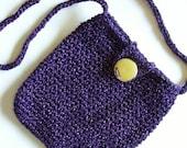 Handmade Crocheted Purple Sparkle Small Handbag