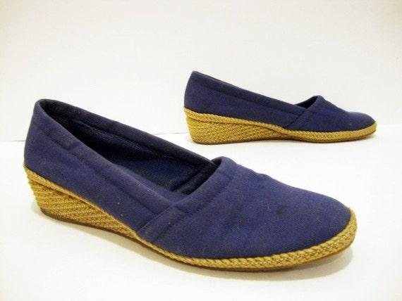 SALE Size 8 Navy Blue Espadrille Wedges Canvas Slip on Wedges  Shoes