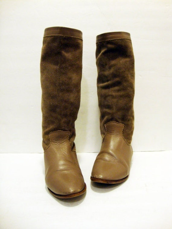 Size 6.5 TAUPE Leather and Suede Tall Boots Shoes