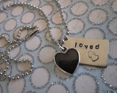 Hand Stamped  Loved  Necklace with Black Heart Charm