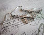 Silver Dangle Airplane Earrings
