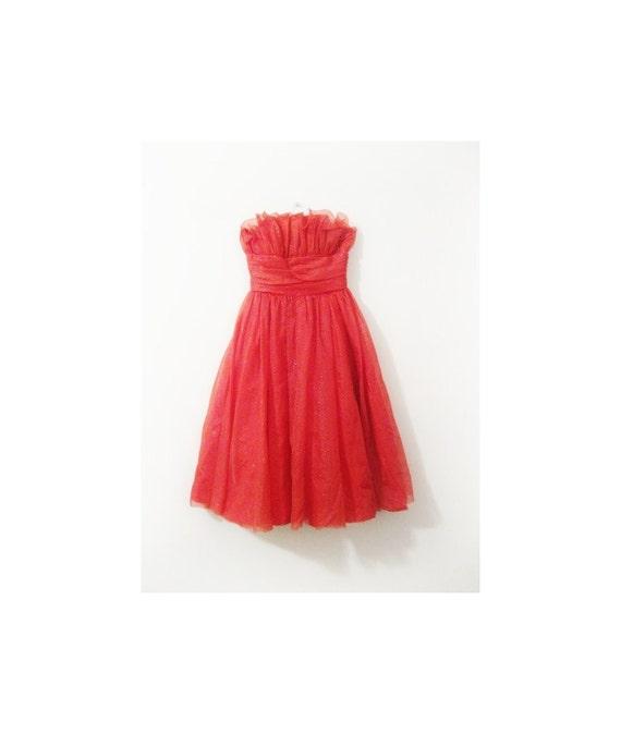 1950s-1960s PARTY ruffle metallic dot dress