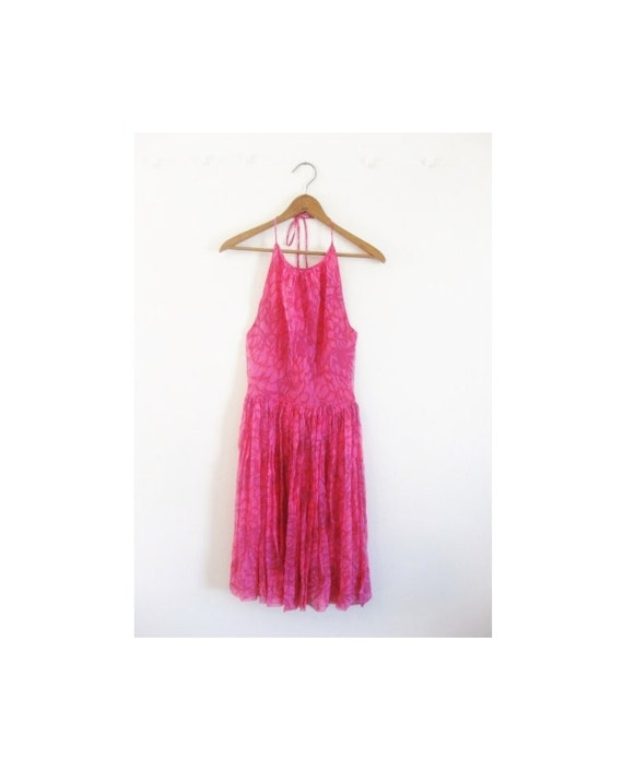 1940s-1950s FLORAL chiffon flowy halter dress