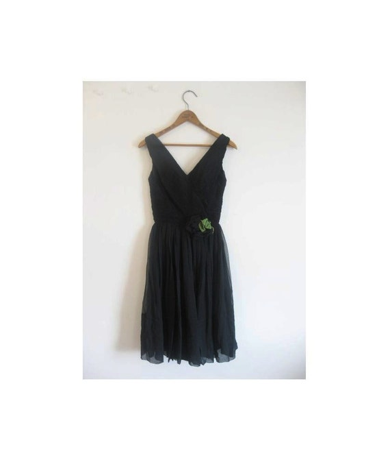 1940s-1950s BLACK flower classic dress