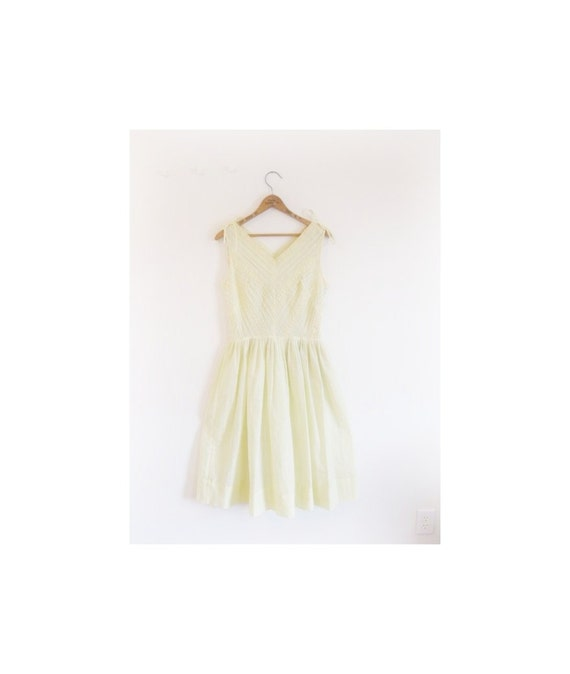 1940s-1950s SHEER floral yellow spring dress