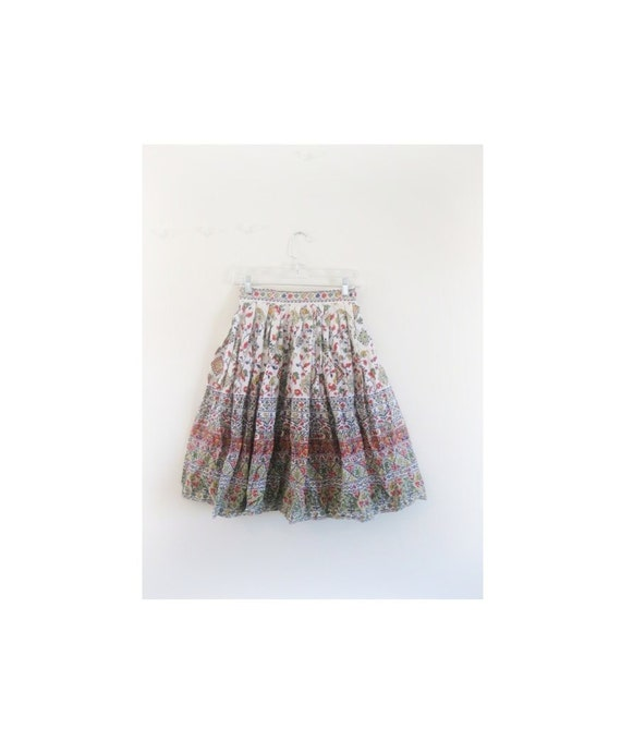 1940s-1950s FLORAL skirt cotton dress