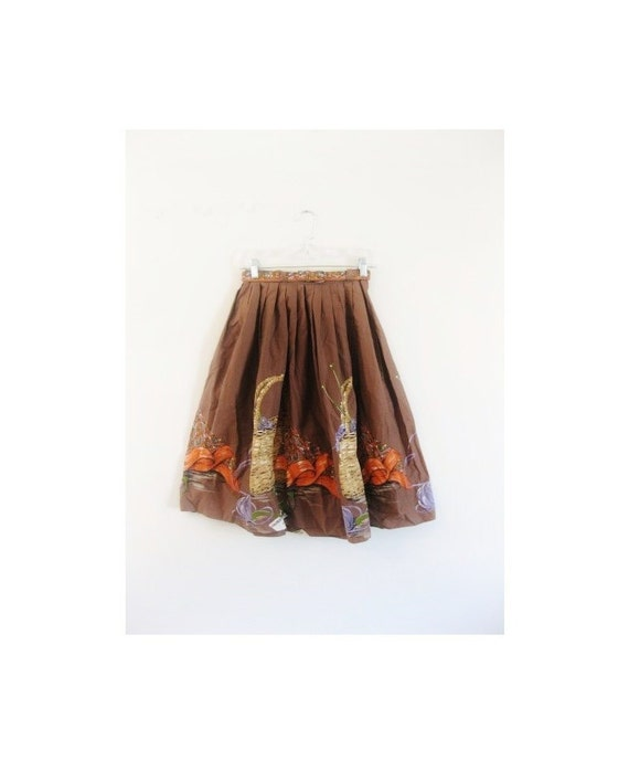 1940s-1950s CLASSIC floral fall skirt