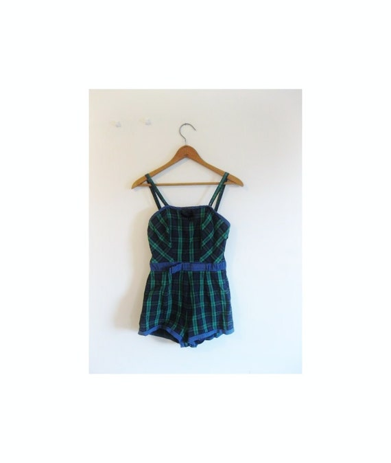 1940s-1950s PLAID classic swimsuit