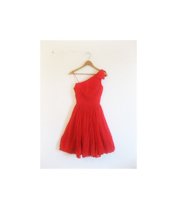 1940s-1950s GORGEOUS red party dress