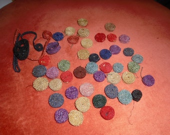 Vintage Millinery Trim 1920s Vintage Round Straw Polka Dot Like Finding Trim for Hats 43 Pieces Various Colors