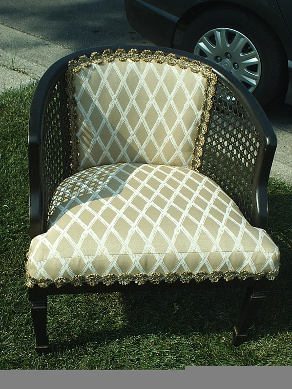Barrel cane upholstered chair        SALE