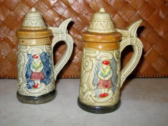 Vintage German stein salt and pepper shakers