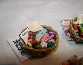 DOLLS HOUSE MINIATURES - Sewing Basket and Book