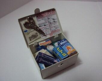 dolls house miniature - 1/12th first aid tin box
