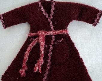 Dolls House 1/12th Dressing Gown - Burgandy