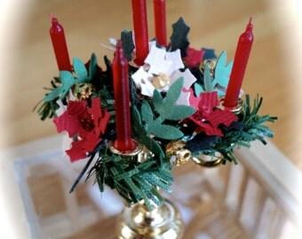 Christmas Candleabra - POINSETTIA / HOLLY