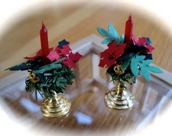 Christmas Candlesticks x2 - POINSETTIA / HOLLY