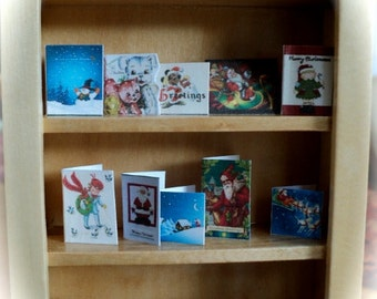 DOLLS HOUSE  - 1/12th Chistmas cards (set  - E)