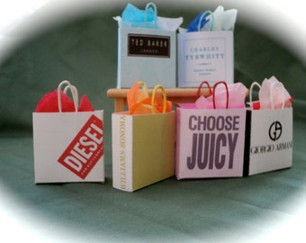 Dolls House Miniatures- 1/12th Shopping Bags set 6