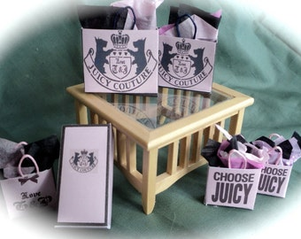 Dolls House Miniatures- 1/12th Shopping Bags  set A