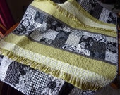 Lime Green Black and White Ruffled Baby Quilt