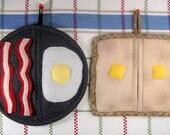 SALE-PDF ePattern-Egg, Bacon and Toast Pot Holders/Pot Pinchers
