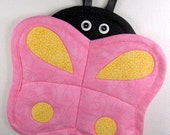 SALE-PDF ePattern-Quilted Butterfly Hot Pot Holder and Trivet