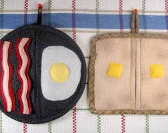 SALE-PDF ePattern-Egg, Bacon and Toast Pot Holders/Pot Pinchers