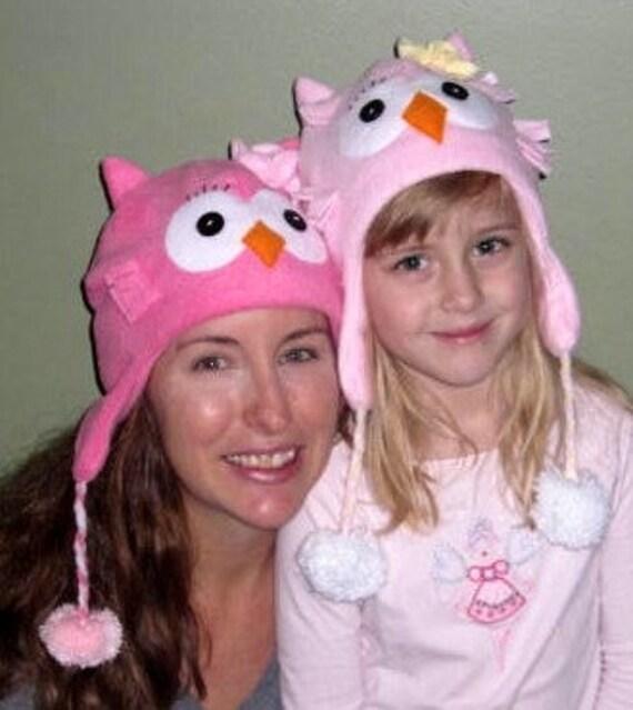 SALE- PDF ePattern-Owl Fleece Aviator Hat Fleece Hat Tutorial, Children hat, Baby hat, Easy Fleece Hat