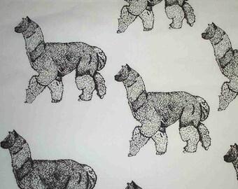 1 yard Alpaca 2 Hot Diggity Dog Fabrics Novelty Fabric