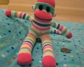 Colorfully Striped Miniature Sock Monkey