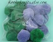 Pom Poms 50 mm Sampler 20 Count Bag Purple and Green