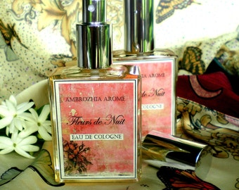 Natural Cologne  FLEURS de NUIT Artisan Perfume Cologne Spray with night jasmine, turkish rose, apricot, sweet spices, rockrose