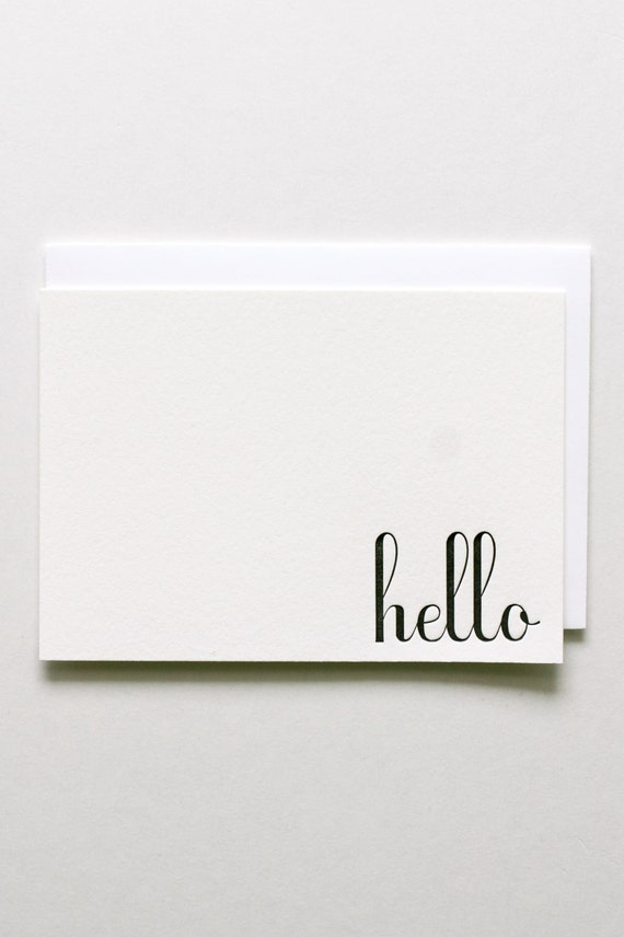 Hello - Letterpress Printed Stationery Set