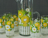Daisy Sunshine Pitcher Set with 6 Glasses