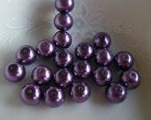 8mm Purple Glass Pearls (25)