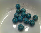 11mm Blue Ornate Engraved Magnesite Dyed Flower Bead (5)