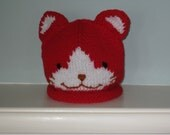Childs knit Kitty hat (red)